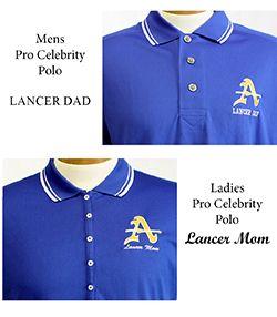 Mens & Ladies Lancer Mom/Dad Pro Celebrity Blue Polo