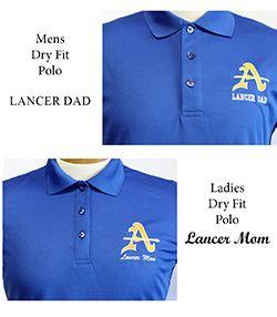 Mens & Ladies Lancer Mom/Dad Dry Fit Blue Polo
